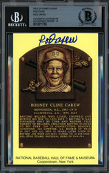 Rod Carew Autographed HOF Plaque Postcard Minnesota Twins Auto Grade 10 Beckett BAS Stock #186138