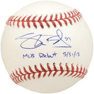 "Shane Bieber Autographed Official MLB Baseball Cleveland Indians ""MLB Debut 5/31/18"" Beckett BAS #WE05082"