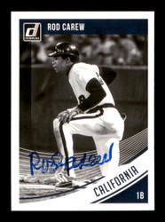 Rod Carew Autographed 2018 Donruss Black & White Card #123 Minnesota Twins SKU #186799