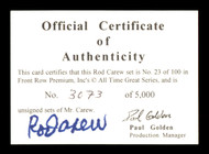 Rod Carew Autographed 1994 Front Row COA Card  SKU #186802