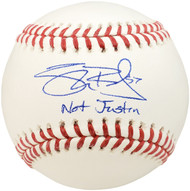 "Shane Bieber Autographed Official MLB Baseball Cleveland Indians ""Not Justin"" Beckett BAS Stock #187029"