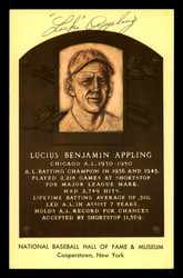 Luke Appling Autographed HOF Plaque Postcard Chicago White Sox SKU #190991