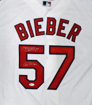 """Cleveland Indians Shane Bieber Autographed White Nike Jersey Size XL """"Go Tribe"""" Beckett BAS Stock #190030"""