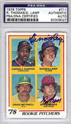 Roy Thomas & Dennis Lamp Autographed 1978 Topps Card #711 PSA/DNA #83309027