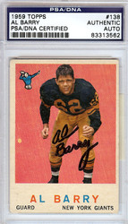 Al Barry Autographed 1959 Topps Card #138 New York Giants PSA/DNA #83313562