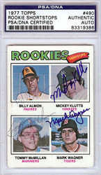 Billy Almon, Mickey Klutts, Tommy McMillan & Mark Wagner Autographed 1977 Topps Card #490 PSA/DNA #83319386