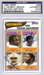 Kevin House & Cedric Brown Autographed 1983 Topps Card #495 Tampa Bay Buccaneers PSA/DNA #83362353
