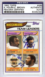 Kevin House & Cedric Brown Autographed 1983 Topps Card #495 Tampa Bay Buccaneers PSA/DNA #83362354