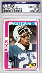 James Hunter Autographed 1978 Topps Rookie Card #389 Detroit Lions PSA/DNA #83365881
