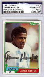 James Hunter Autographed 1981 Topps Card #409 Detroit Lions PSA/DNA #83364011