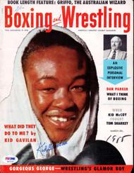 Kid Gavilan Autographed Boxing & Wrestling Magazine Cover PSA/DNA #S47119