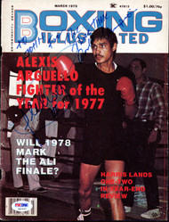 "Alexis Arguello Autographed Boxing Illustrated Magazine Cover ""To John"" PSA/DNA #S47457"