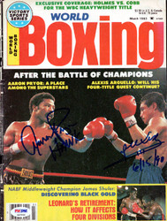 Alexis Arguello & Aaron Pryor Autographed Boxing World Magazine Cover PSA/DNA #S47599
