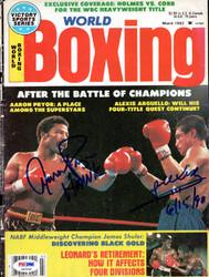 Alexis Arguello & Aaron Pryor Autographed Boxing World Magazine Cover PSA/DNA #S47599