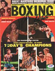 Joe Frazier, Bob Foster, Mando Ramos & Reuben Olivares Autographed International Boxing Magazine Cover PSA/DNA #Q89398