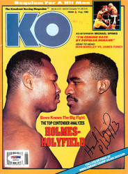 Evander Holyfield Autographed KO Boxing Magazine PSA/DNA #S48902