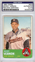 Mickey Vernon Autographed 1963 Topps Card #402 Washington Senators PSA/DNA #83305795