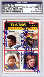 Cullen Bryant, Billy Waddy & Jack Youngblood Autographed 1981 Topps Card #39 Los Angeles Rams PSA/DNA #83409965