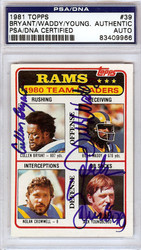 Cullen Bryant, Billy Waddy & Jack Youngblood Autographed 1981 Topps Card #39 Los Angeles Rams PSA/DNA #83409966