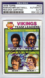 Ahmad Rashad, Bobby Bryant & Mark Mullaney Autographed 1979 Topps Card #432 Minnesota Vikings PSA/DNA #83410019