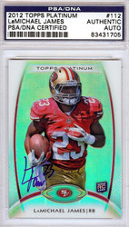 LaMichael James Autographed 2012 Topps Platinum Rookie Card #112 San Francisco 49ers PSA/DNA #83431705