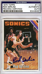 Rod Derline Autographed 1975 Topps Rookie Card #112 Seattle Sonics PSA/DNA #83448467
