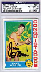 Jimmy O'Brien Autographed 1974 Topps Card #236 San Diego Conquistadors PSA/DNA #83454394