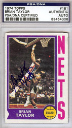 Brian Taylor Autographed 1974 Topps Card #181 New York Nets PSA/DNA #83454306