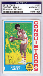 "Dwight ""Bo"" Lamar Autographed 1974 Topps Card #177 San Diego Conquistadors PSA/DNA #83454326"