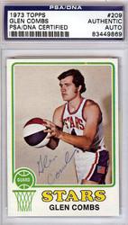Glen Combs Autographed 1973 Topps Card #209 Utah Stars PSA/DNA #83449869
