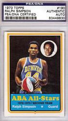 Ralph Simpson Autographed 1973 Topps Card #190 Denver Rockets PSA/DNA #83449830