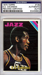 E.C. Coleman Autographed 1975 Topps Card #163 New Orleans Jazz PSA/DNA #83456802