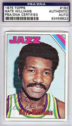 Nate Williams Autographed 1975 Topps Card #182 New Orleans Jazz PSA/DNA #83456822