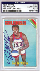 Ted McClain Autographed 1975 Topps Card #311 Kentucky Colonels PSA/DNA #83456985