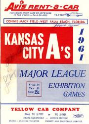 Kansas City A's Autographed 1961 Scorecard With 3 Signatures Including Hank Aaron & Eddie Mathews JSA #B53481