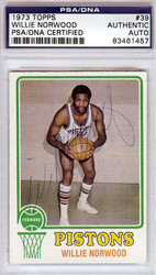 Willie Norwood Autographed 1973 Topps Card #39 Detroit Pistons PSA/DNA #83461457
