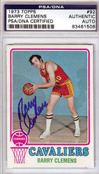 Barry Clemens Autographed 1973 Topps Card #92 Cleveland Cavaliers PSA/DNA #83461508