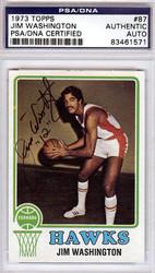 Jim Washington Autographed 1973 Topps Card #87 Atlanta Hawks PSA/DNA #83461571