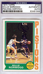 Willie Norwood Autographed 1974 Topps Card #156 Detroit Pistons PSA/DNA #83461849