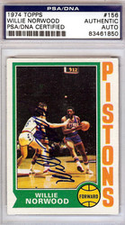 Willie Norwood Autographed 1974 Topps Card #156 Detroit Pistons PSA/DNA #83461850