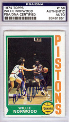Willie Norwood Autographed 1974 Topps Card #156 Detroit Pistons PSA/DNA #83461851