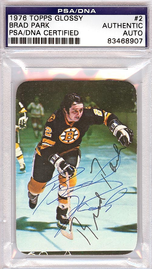 newest e4805 fe9ff Brad Park Autographed 1976 Topps Glossy Card #2 Boston Bruins PSA/DNA  #83468907