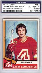 Larry Romanchych Autographed 1974 Topps Card #157 Atlanta Flames PSA/DNA #83470152