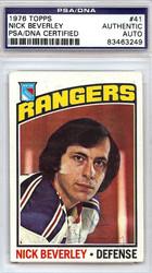 Nick Beverley Autographed 1976 Topps Card #41 New York Rangers PSA/DNA #83463249
