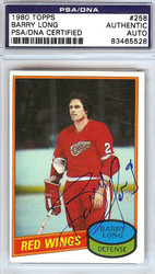 Barry Long Autographed 1980 Topps Card #258 Detroit Red Wings PSA/DNA #83465528