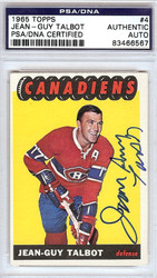 Jean-Guy Talbot Autographed 1965 Topps Card #4 Montreal Canadiens PSA/DNA #83466567