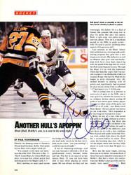Brett Hull Autographed Magazine Page Photo St. Louis Blues PSA/DNA #U93751