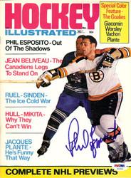 Phil Esposito Autographed Hockey Illustrated Magazine Cover Boston Bruins PSA/DNA #U93806