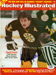 Phil Esposito Autographed Hockey Illustrated Magazine Cover Boston Bruins PSA/DNA #U93816