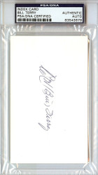 William Bill Terry Autographed Index Card PSA/DNA #83543679
